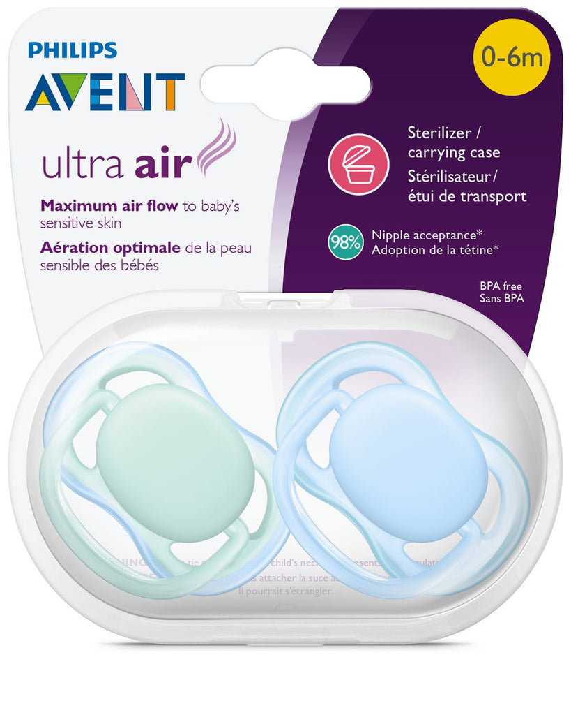philips avent ultra air pacifier blue green packaging
