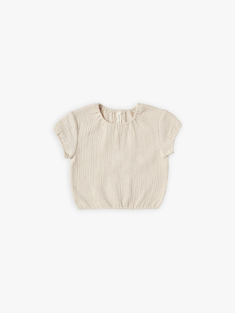quincy mae cinched woven tee natural