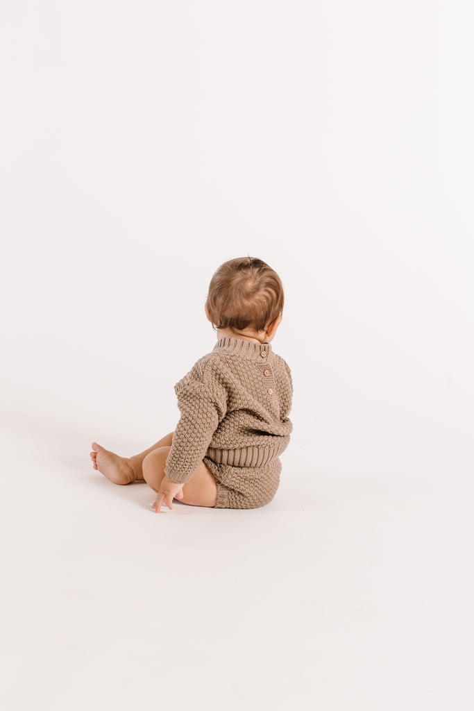 Cable Knit Sweater & Knit Tie Bloomer Set - Olive