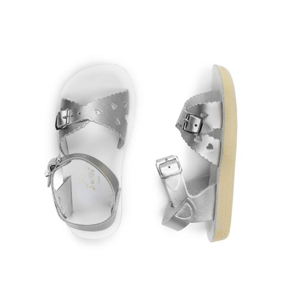 saltwater sweetheart sandals silver kids