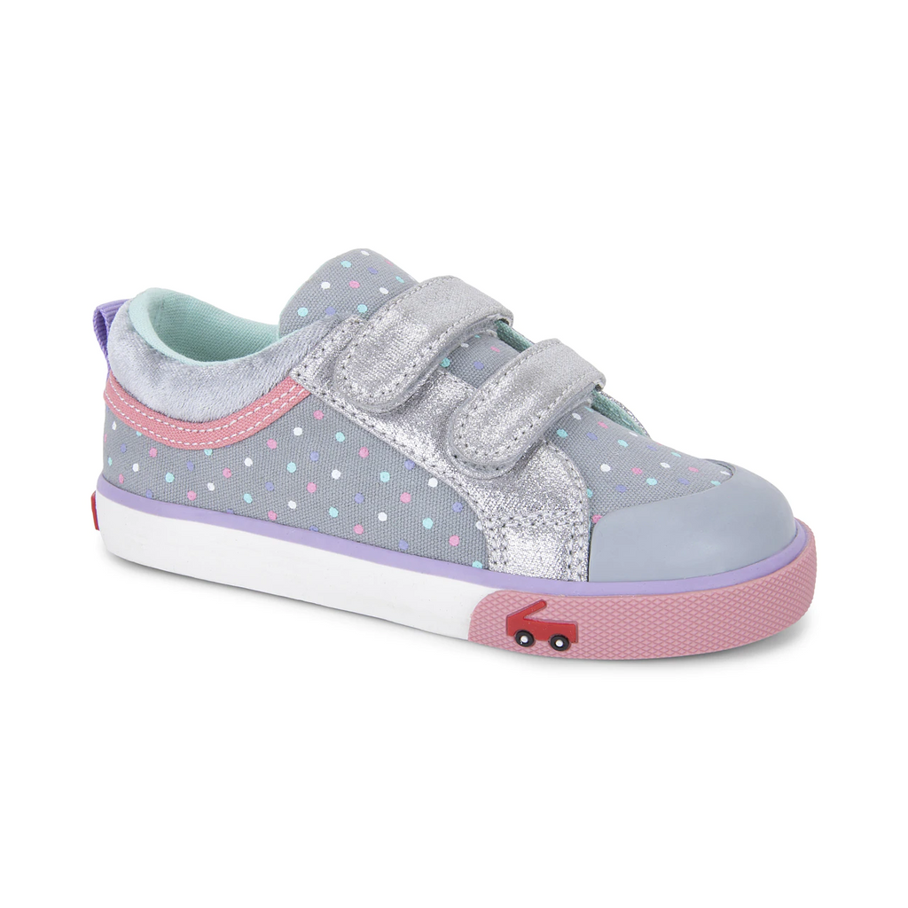 see kai run sneakers robyne gray dots silver