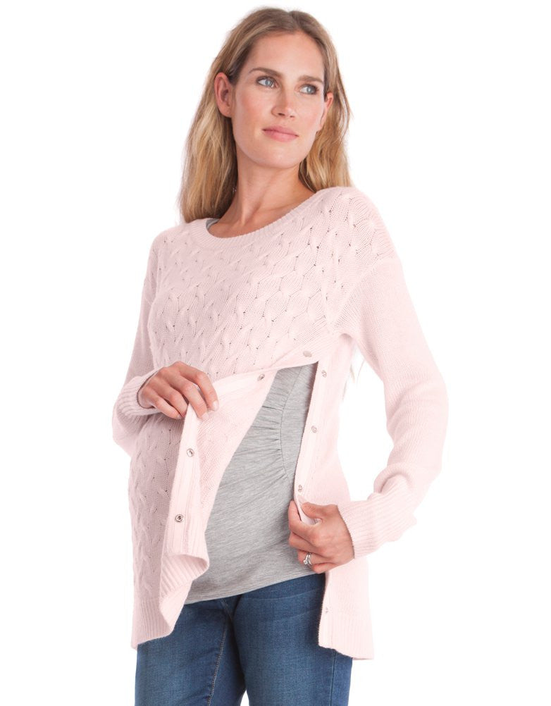 Jamie Cable Knit Sweater - Blush Pink (Size L Only)