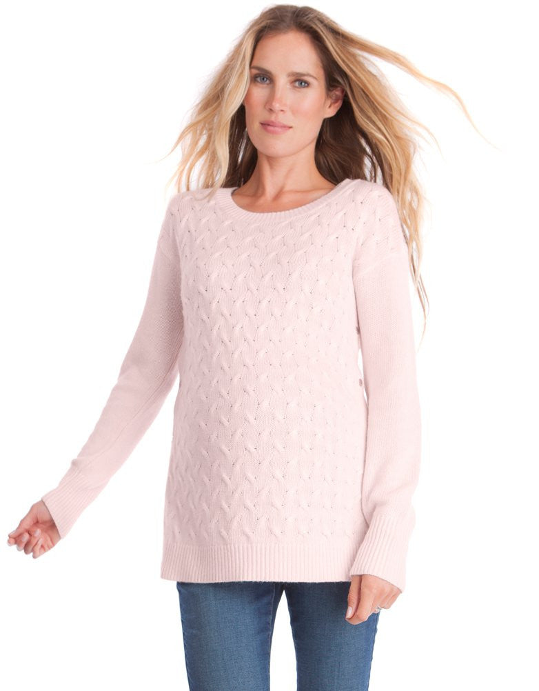 Jamie Cable Knit Sweater - Blush Pink