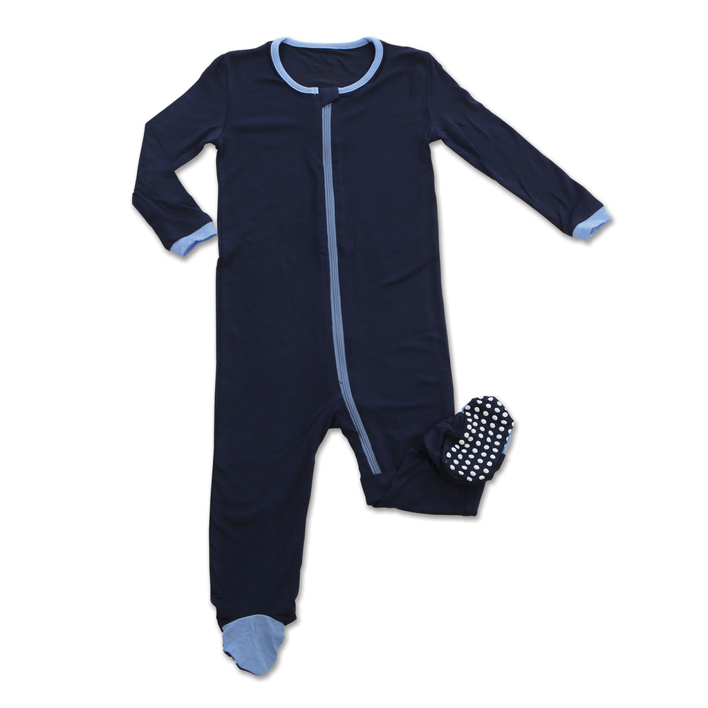 Bamboo Footed Onesie - Indigo