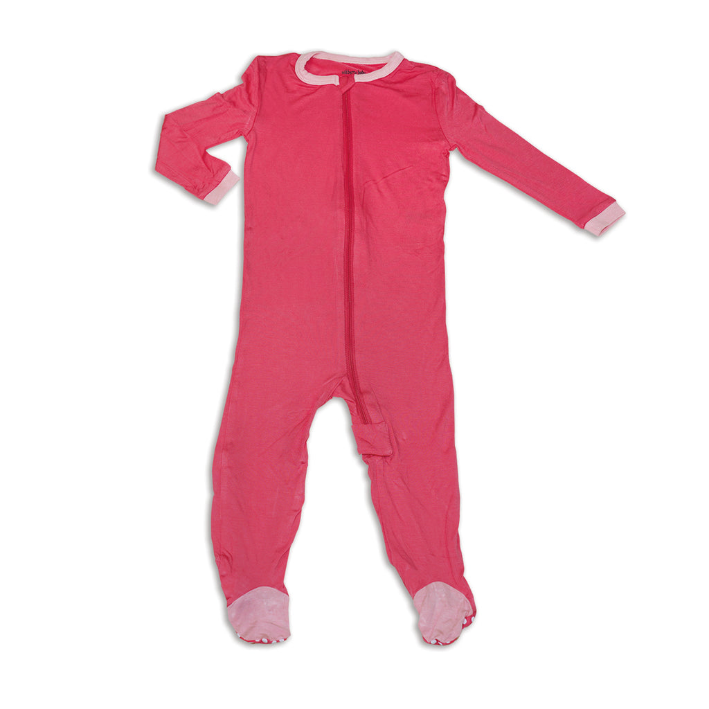 Bamboo Footed Onesie - Coral Crush
