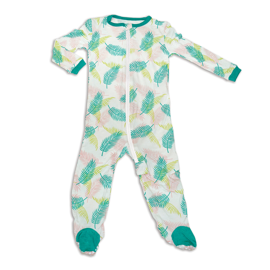 Bamboo Footed Onesie - Tropical Palm