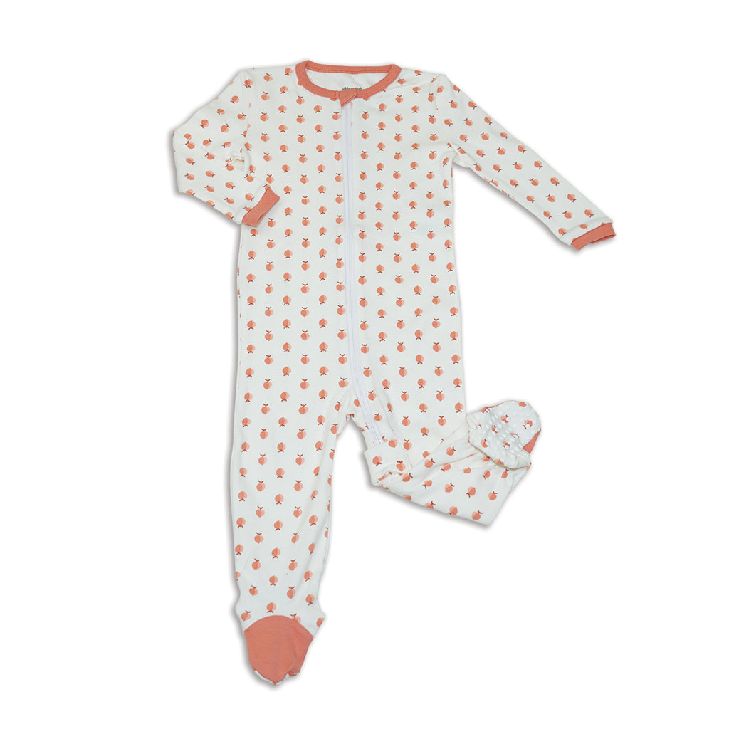 Organic Cotton Footed Onesie - Peachy Keen