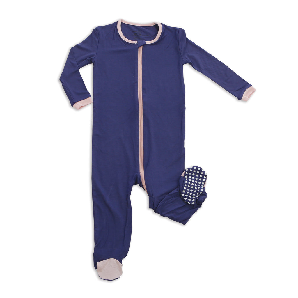 Bamboo Footed Onesie - Skipper Blue
