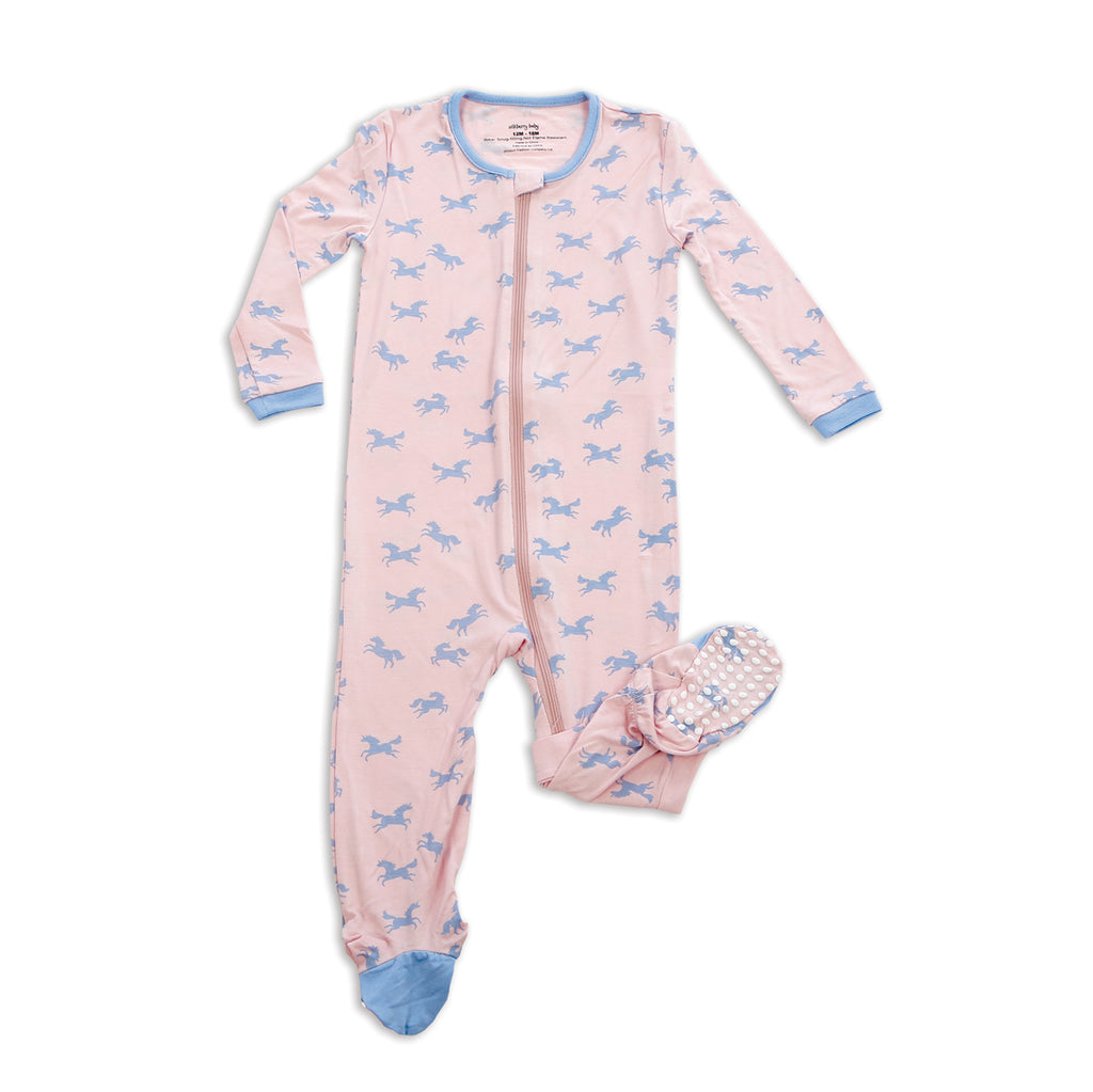 Bamboo Footed Onesie - Unicorns