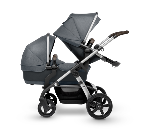 silver cross wave double stroller slate double seat bassinet