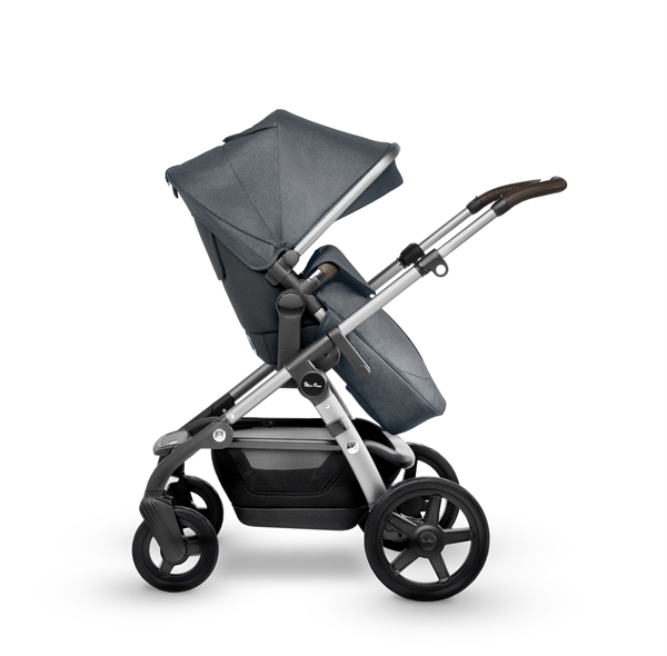 silver cross wave double stroller slate side