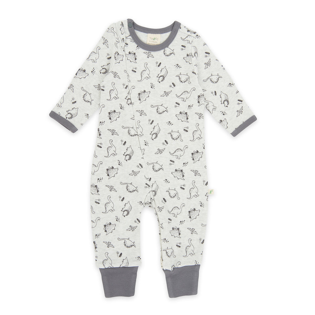 tiny twig organic cotton zipsuit romper dino print