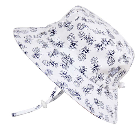 Grow With Me UPF 50+ Cotton Sun Hat - White Pineapple