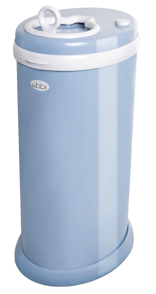 ubbi stainless steel diaper pail cloudy blue