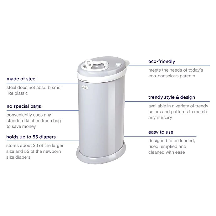 ubbi stainless steel diaper pail features