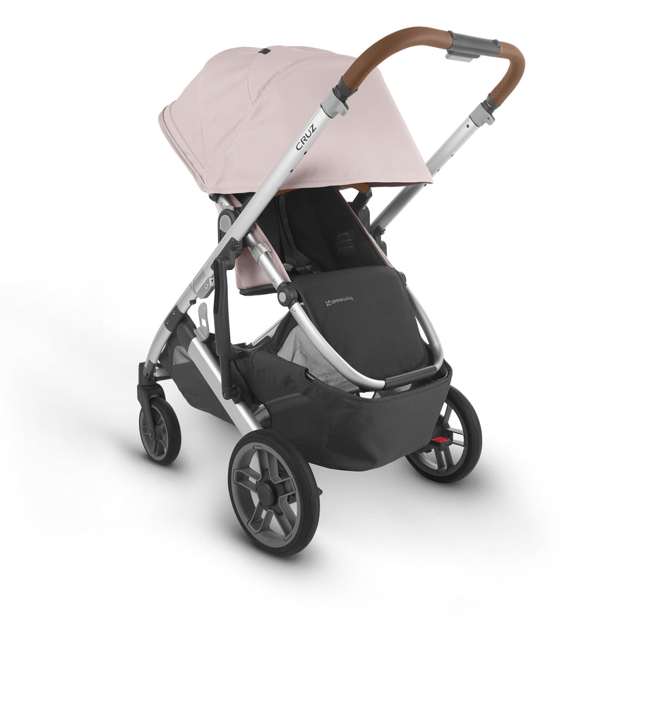 uppababy cruz v2 stroller alice dusty pink silver frame saddle leather parent facing canopy down