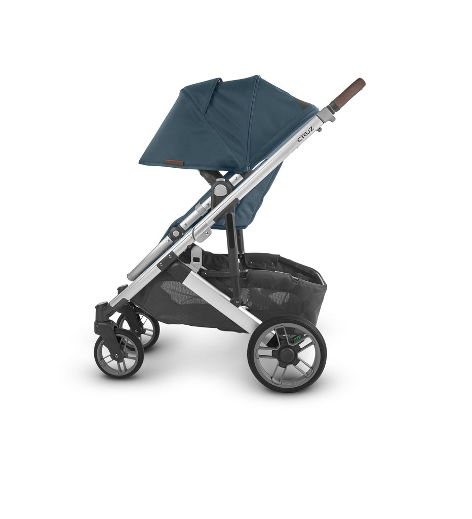 uppababy cruz v2 stroller finn deep sea silver fram chestnut leather side canopy down
