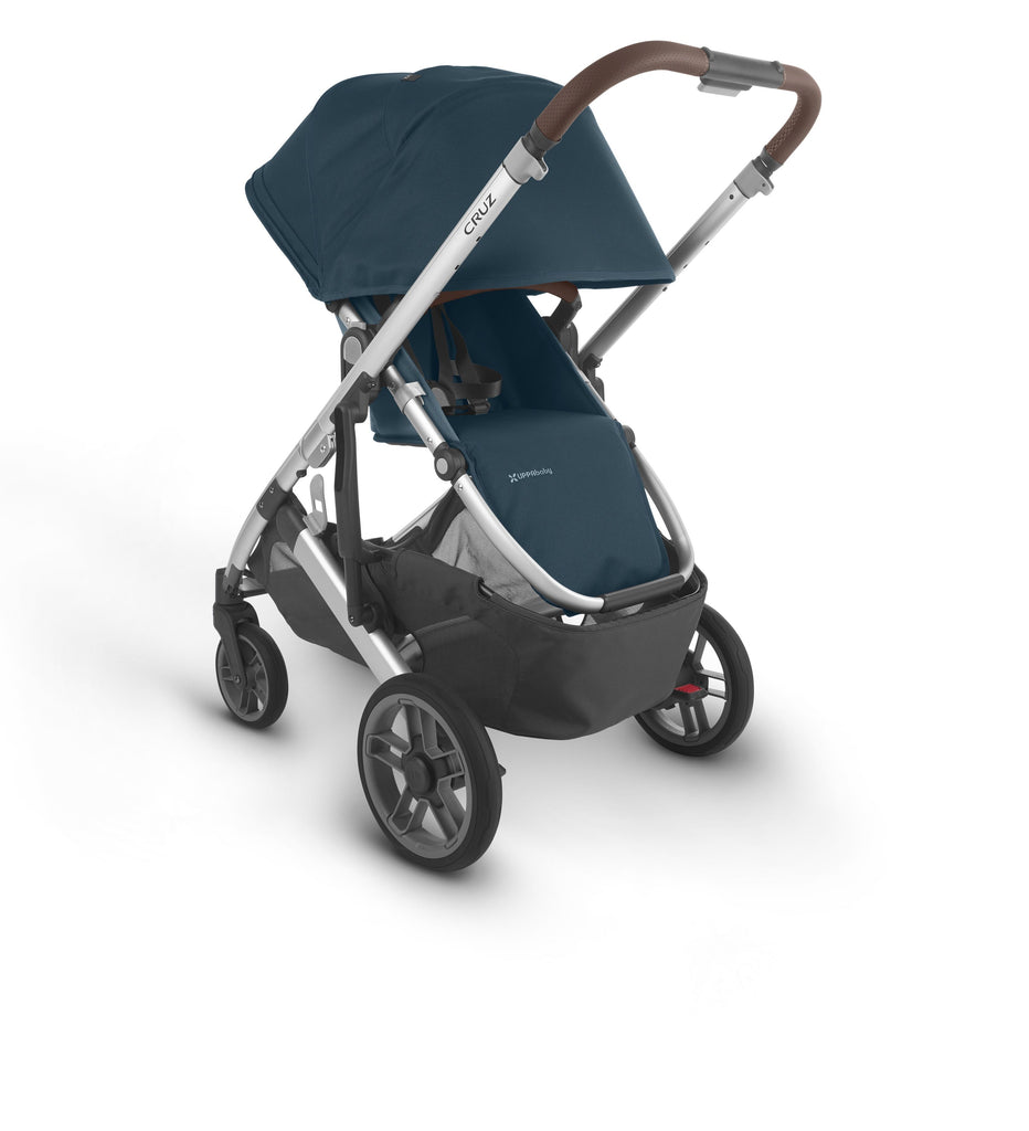 uppababy cruz v2 stroller finn deep sea silver fram chestnut leather parent facing canopy down