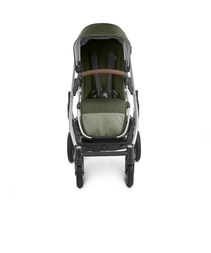 uppababy cruz v2 stroller hazel olive silver frame saddle leather front