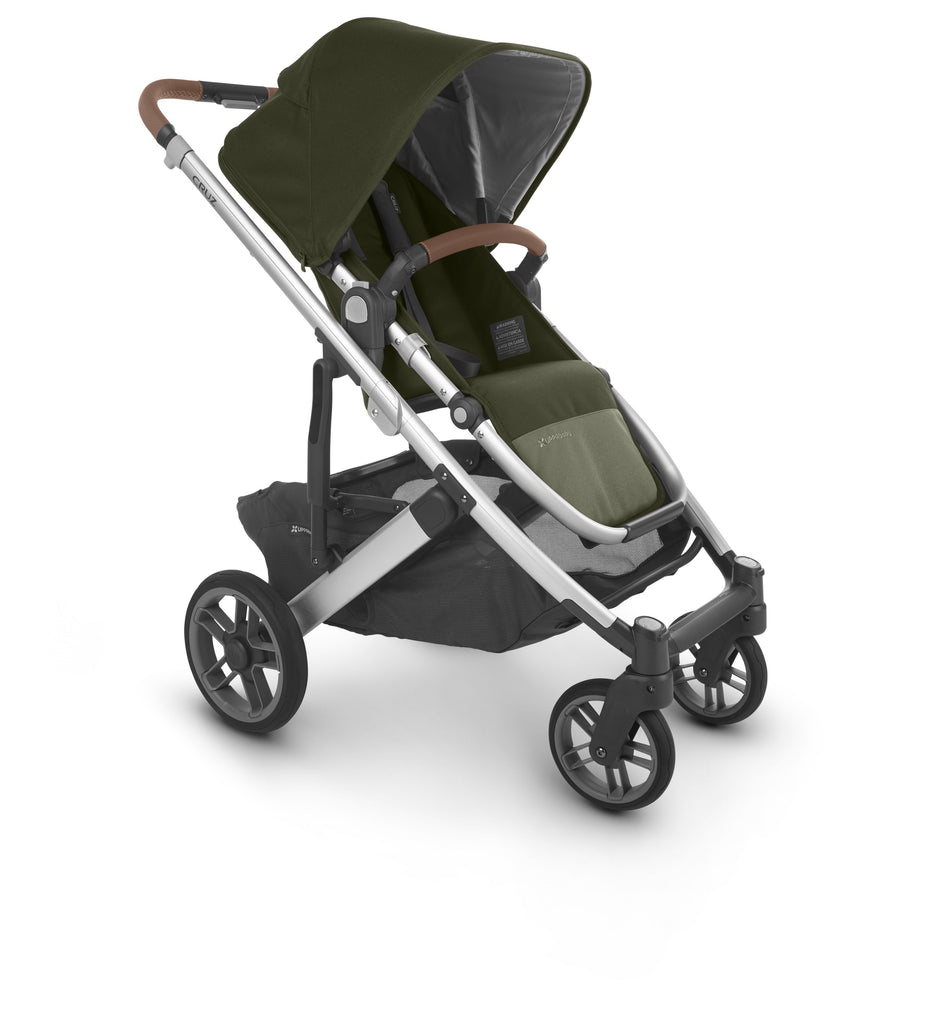 uppababy cruz v2 stroller hazel olive silver frame saddle leather forward facing