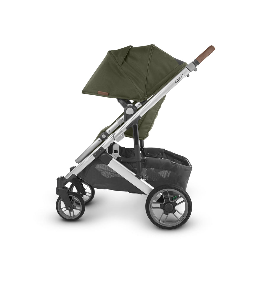 uppababy cruz v2 stroller hazel olive silver frame saddle leather side canopy down