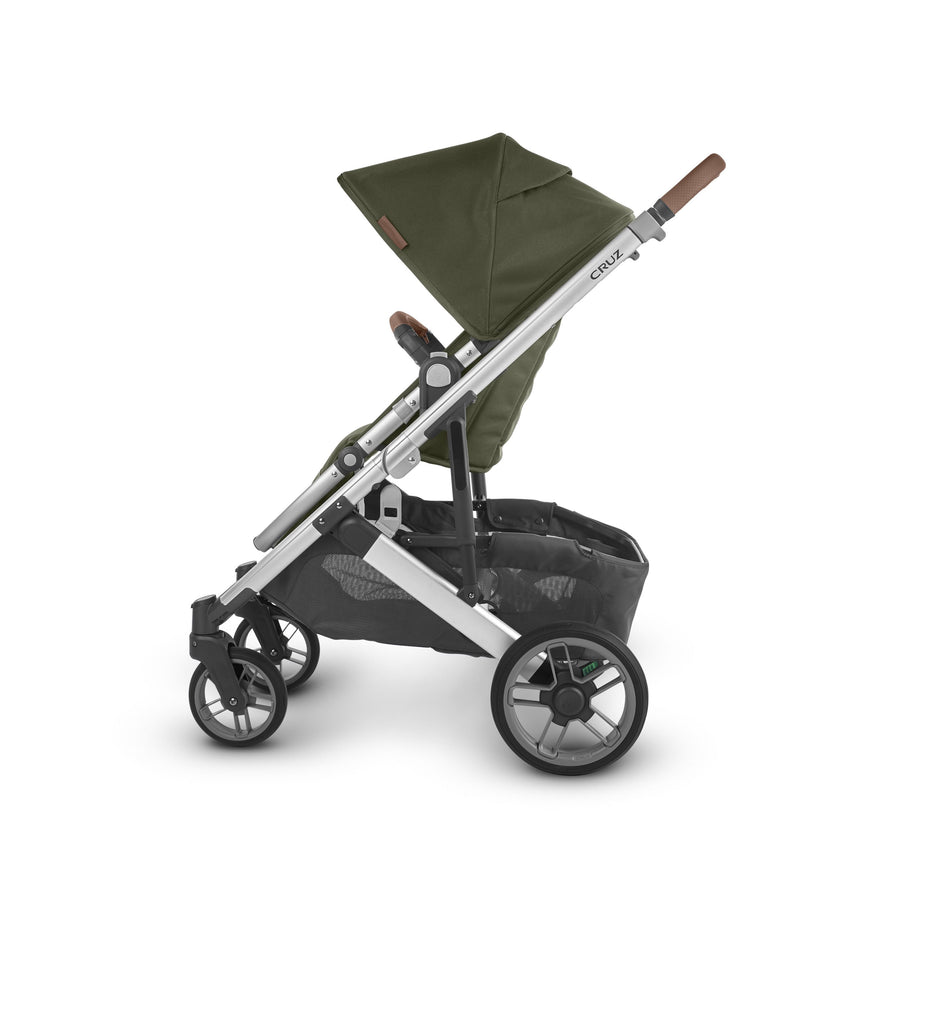 uppababy cruz v2 stroller hazel olive silver frame saddle leather side
