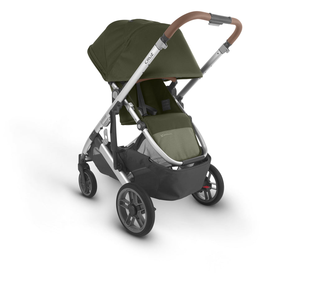 uppababy cruz v2 stroller hazel olive silver frame saddle leather parent facing canopy down