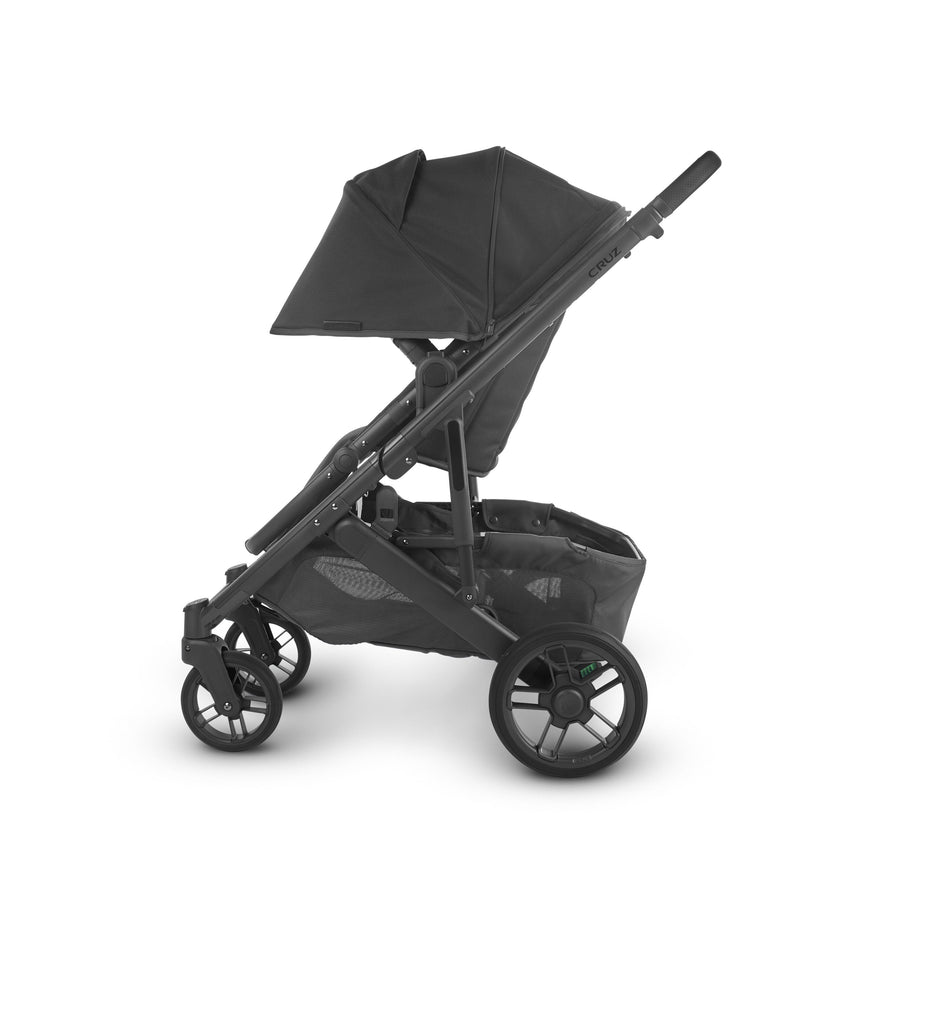 uppababy cruz v2 stroller jake charcoal carbon frame black leather side canopy down
