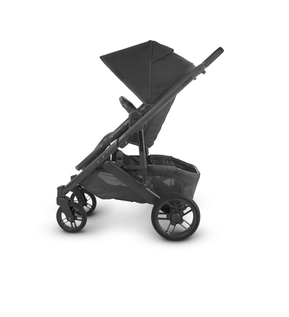 uppababy cruz v2 stroller jake charcoal carbon frame black leather side