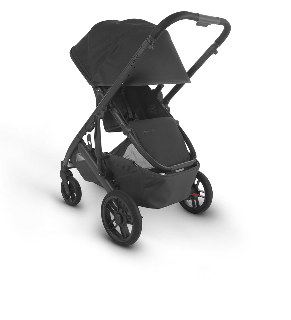 uppababy cruz v2 stroller jake charcoal carbon frame black leather parent facing canopy down