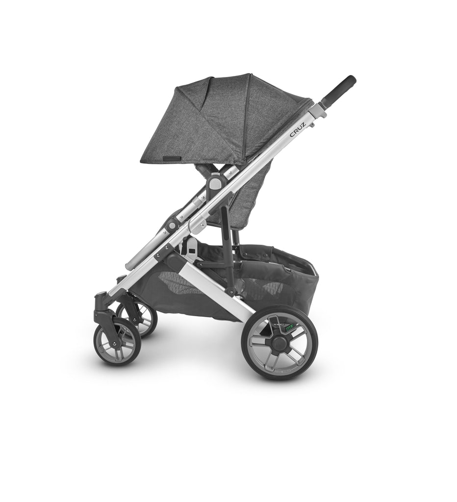 uppababy cruz v2 stroller jordan charcoal melange silver frame black leather side canopy down