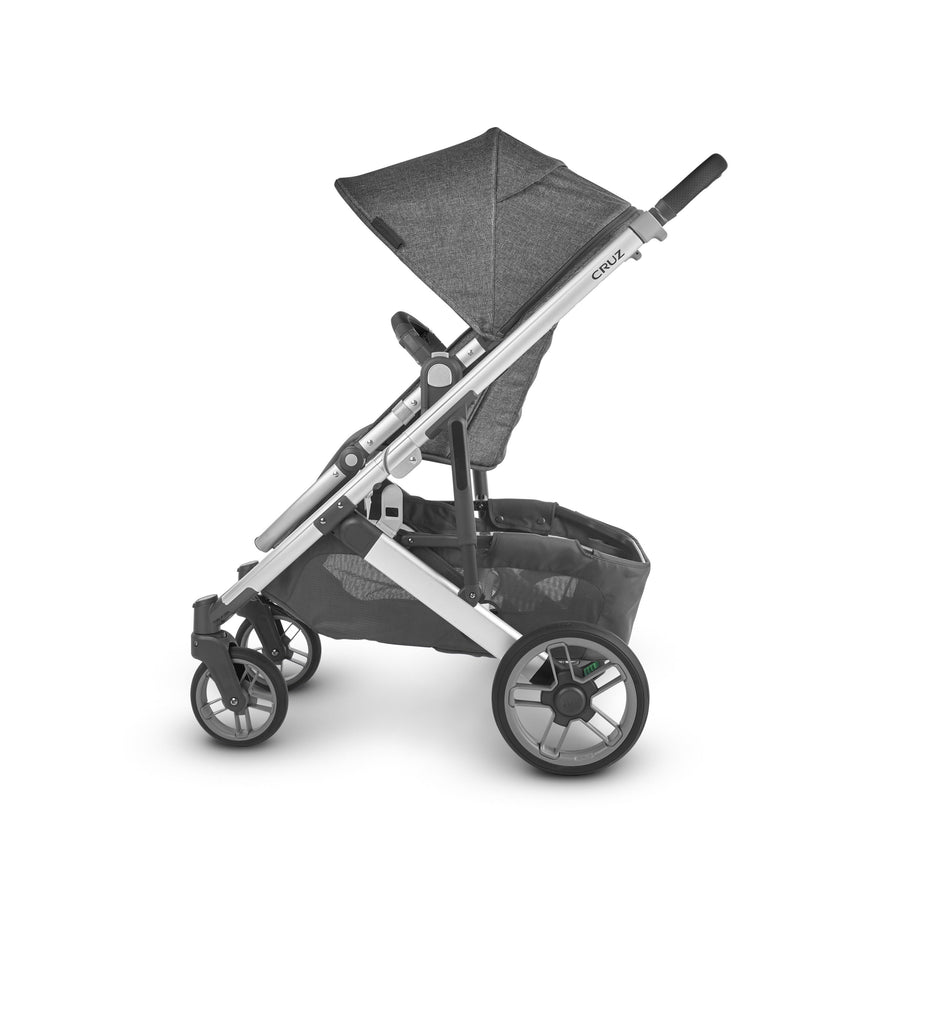 uppababy cruz v2 stroller jordan charcoal melange silver frame black leather side