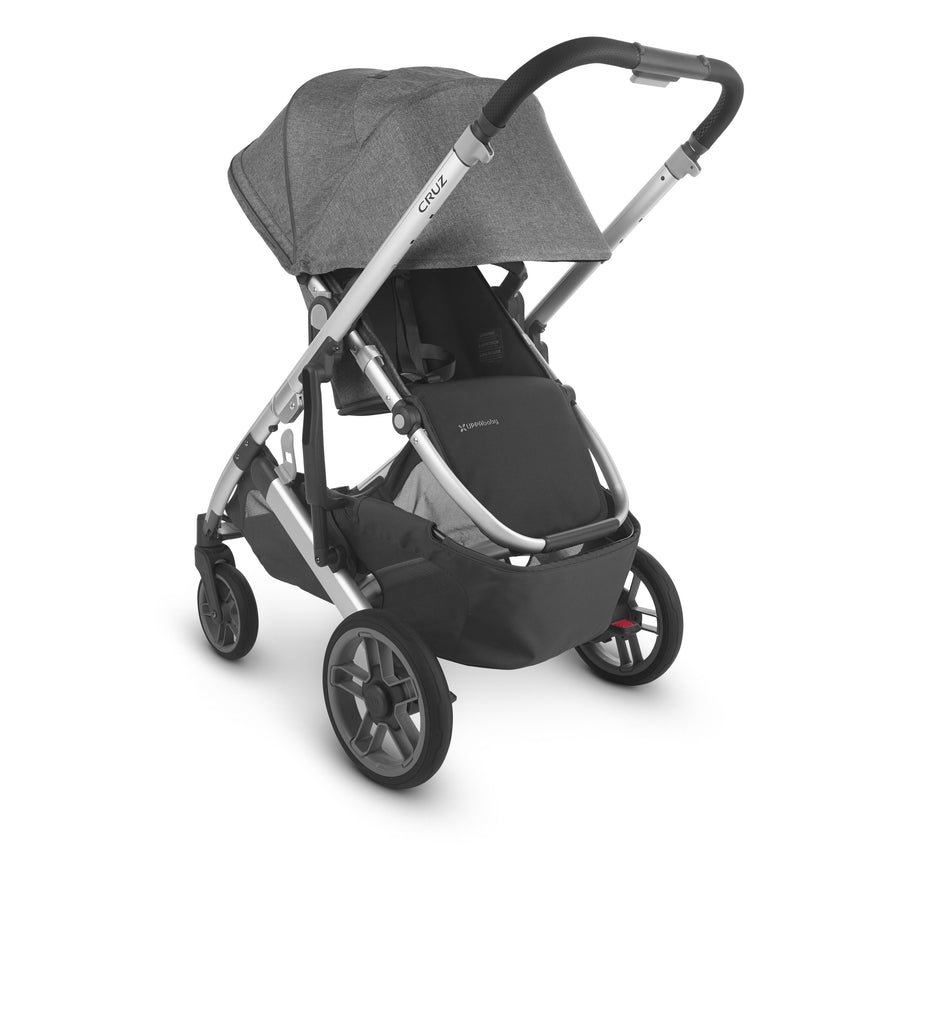 uppababy cruz v2 stroller jordan charcoal melange silver frame black leather parent facing canopy down