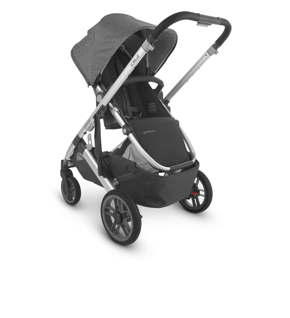uppababy cruz v2 stroller jordan charcoal melange silver frame black leather parent facing