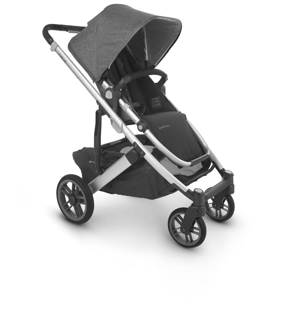uppababy cruz v2 stroller jordan charcoal melange silver frame black leather forward facing
