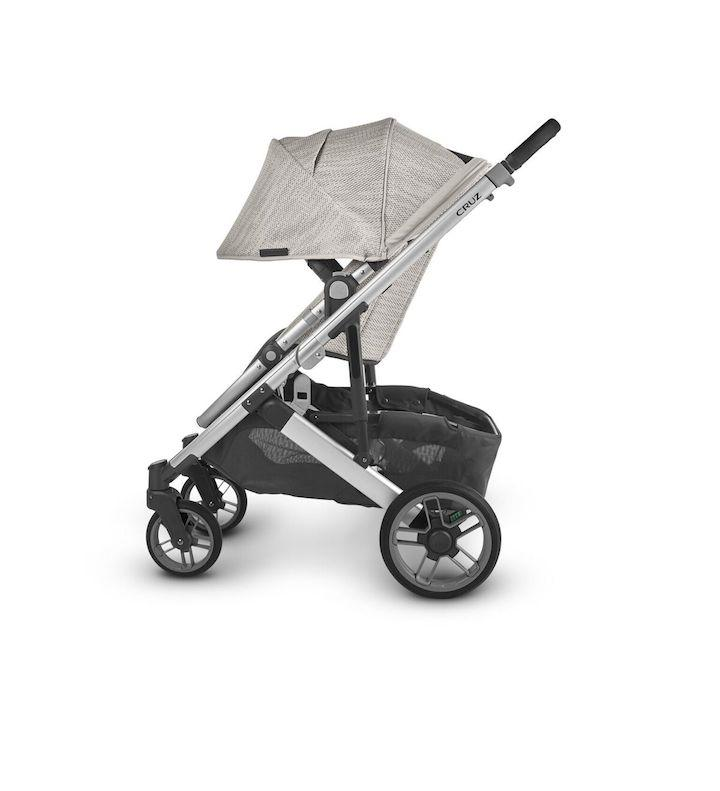 uppababy cruz v2 stroller sierra dune knit silver frame black leather side canopy down