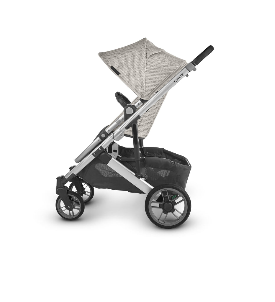uppababy cruz v2 stroller sierra dune knit silver frame black leather side