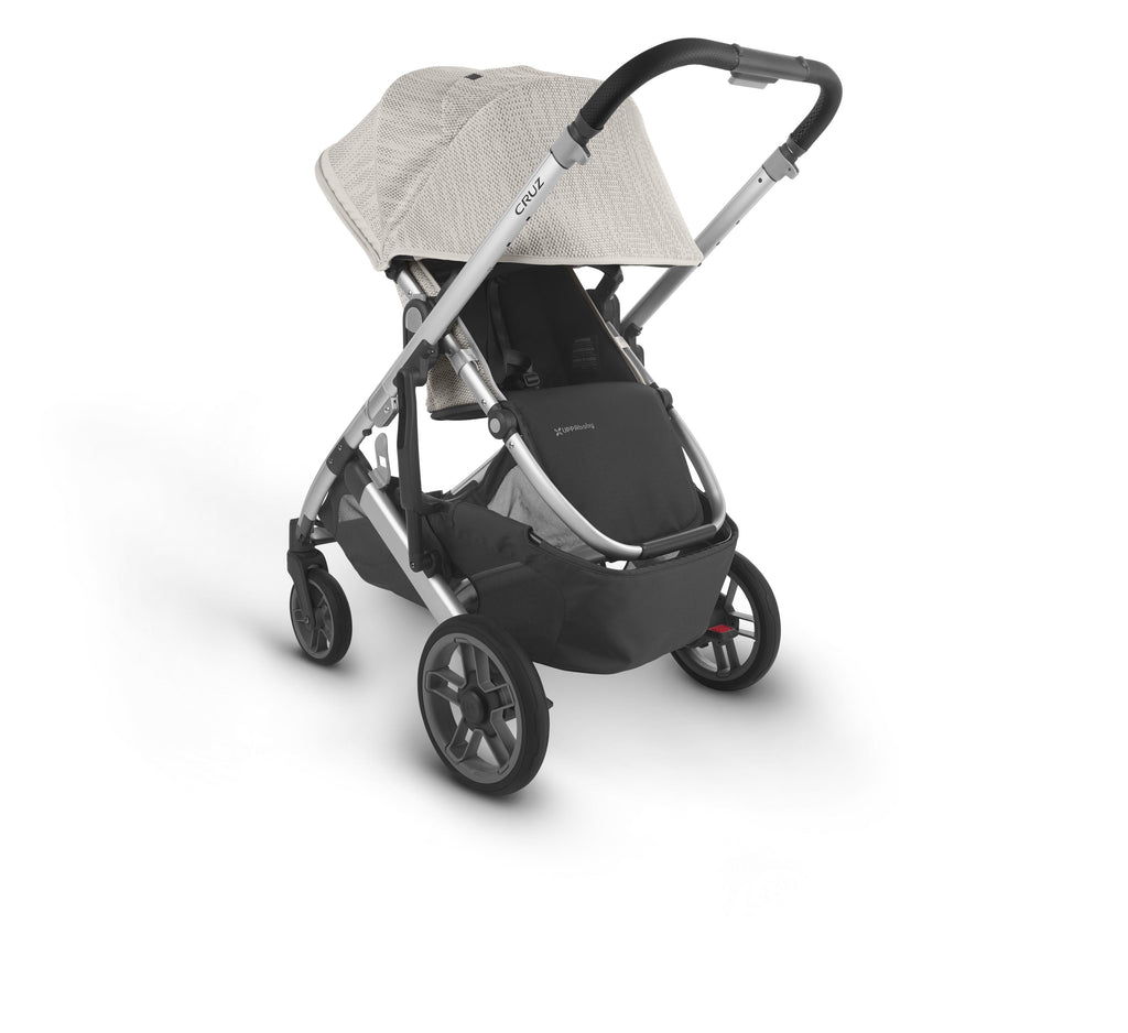 uppababy cruz v2 stroller sierra dune knit silver frame black leather parent facing canopy down