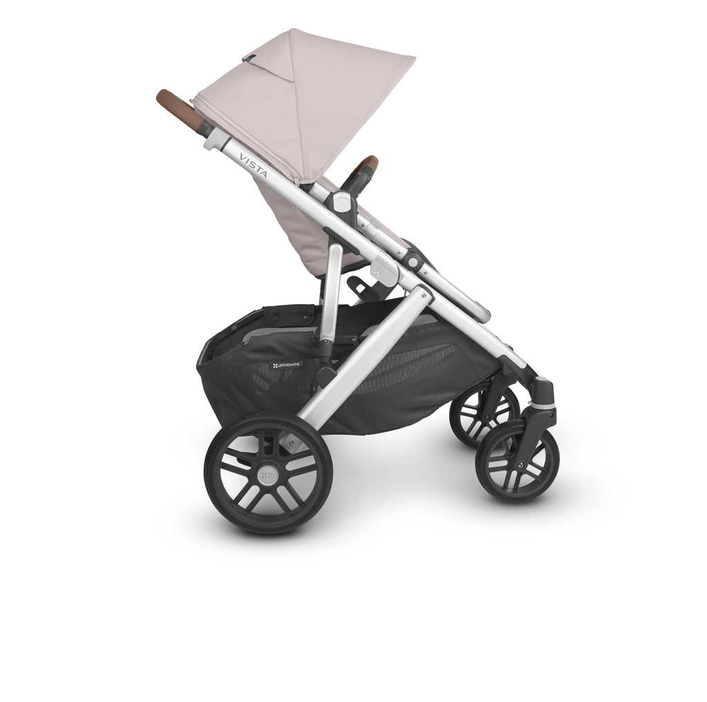 uppababy vista v2 stroller alice dusty pink silver frame saddle leather side