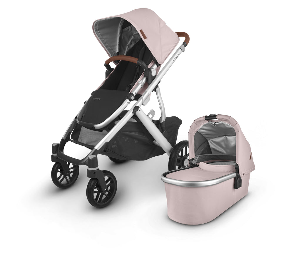 uppababy vista v2 stroller alice dusty pink silver frame saddle leather with bassinet