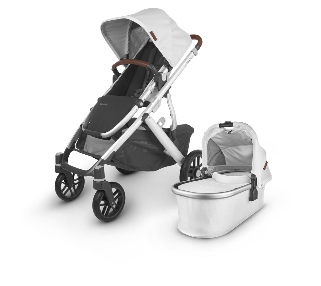 uppababy vista v2 stroller bryce white marl silver frame chestnut leather with bassinet