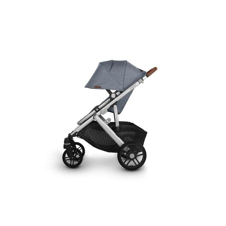 uppababy vista v2 stroller gregory blue melange silver frame saddle leather side canopy down
