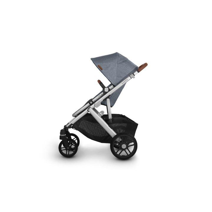 uppababy vista v2 stroller gregory blue melange silver frame saddle leather side canopy