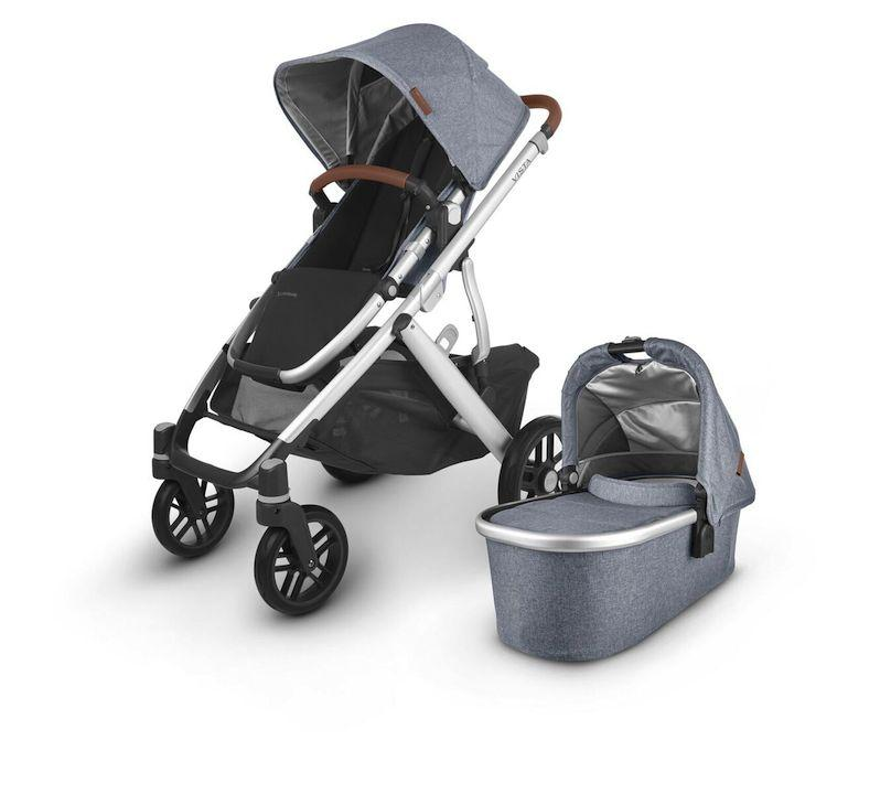uppababy vista v2 stroller gregory blue melange silver frame saddle leather with bassinet