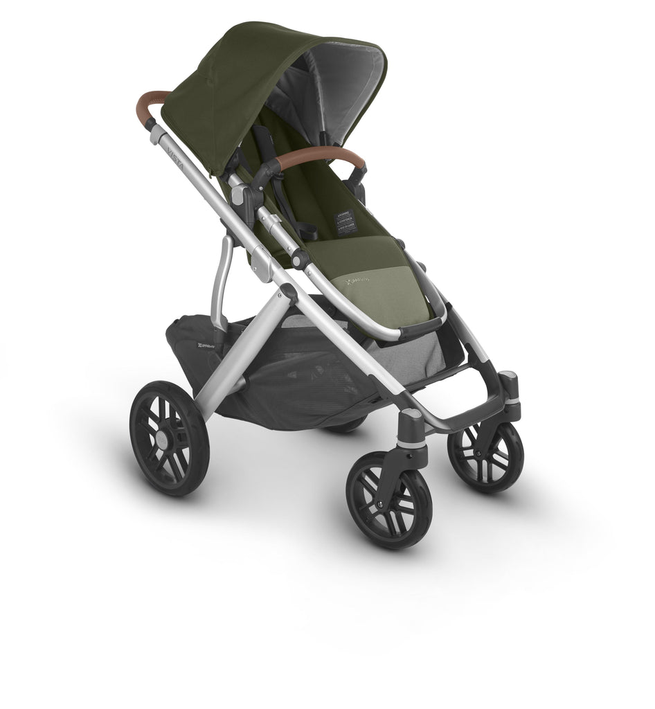 uppababy vista v2 stroller hazel olive silver frame saddle leather forward facing