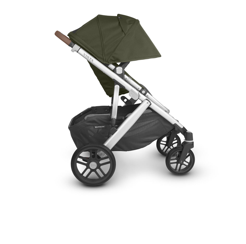 uppababy vista v2 stroller hazel olive silver frame saddle leather side canopy down
