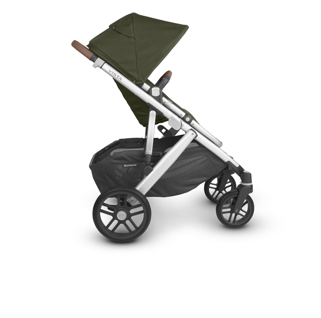uppababy vista v2 stroller hazel olive silver frame saddle leather side