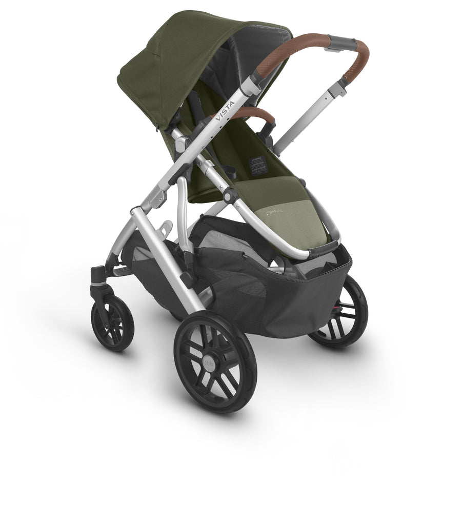 uppababy vista v2 stroller hazel olive silver frame saddle leather parent facing