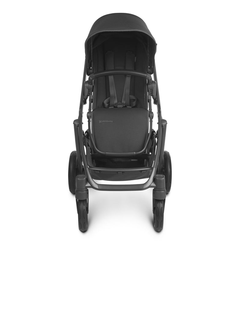 uppababy vista v2 jake charcoal carbon frame black leather front