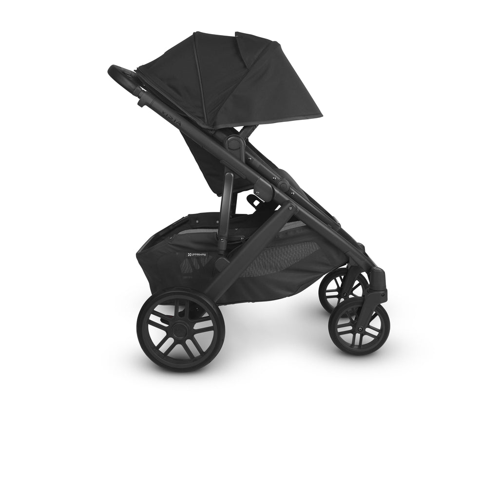 uppababy vista v2 jake charcoal carbon frame black leather side canopy down